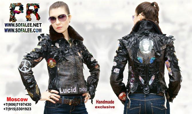 """№145 Chic women's exclusive genuine python skin jacket- """"Lucid dream"""""""
