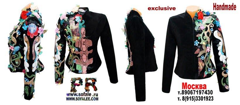 "№149 Handmade womens genuine leather black jacket with flowers- ""Leonella"""