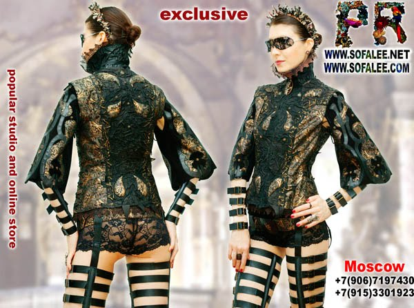 """№176 Exclusive women's genuine leather jacket laterally lacing, short sleeves- """"Balestre""""."""