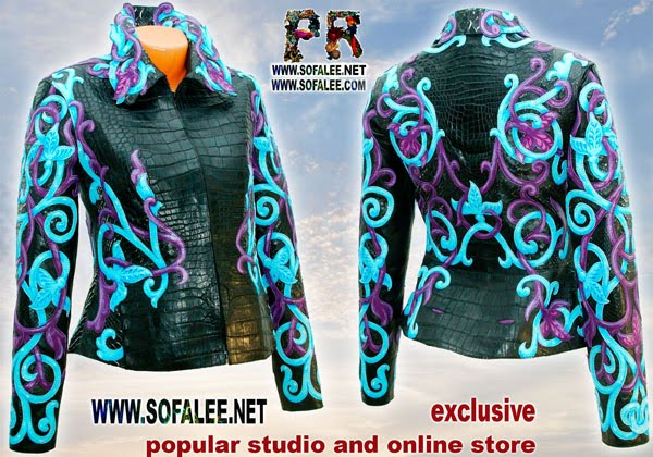 "№178 Exclusive handmade women's jacket genuine crocodile python skin- ""Tauretari"""