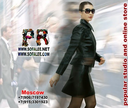 №164 Casual style black suit of genuine leather. Skirt and jacket.