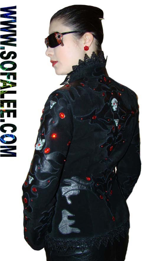 "№28 Leather lux jacket womens""Melotron"""