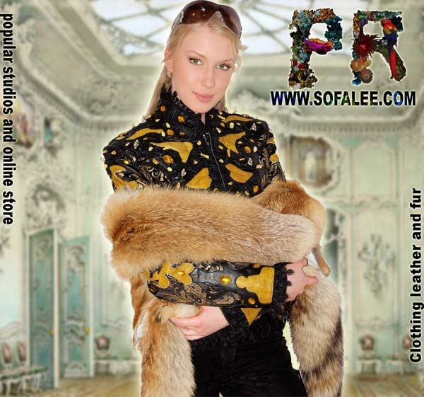 "№92 Unique women genuine leather jacket yellow black color- ""Carnelian"""