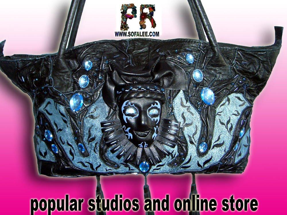 Брендовая кожаная сумка с оригинальной вышивкой