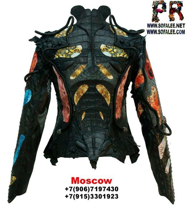 """№183 Куртка женская из натуральной кожи крокодила питона """"Astridot"""""""