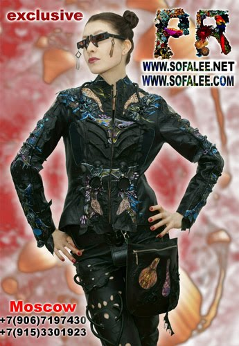 "№167 Genuine leather women's jacket painted handmade exclusive- ""Inbrunykach"""