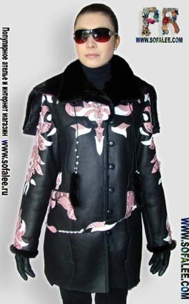 "№50 Ladies sheepskin coat ""Pink python"""