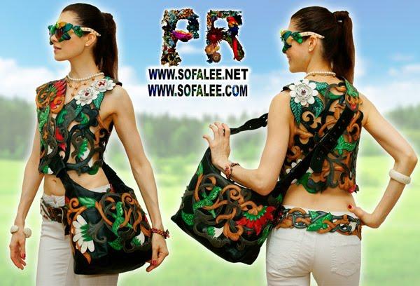 №173 Эксклюзивная женская кожаная жилетка, переплетение растений, цветов