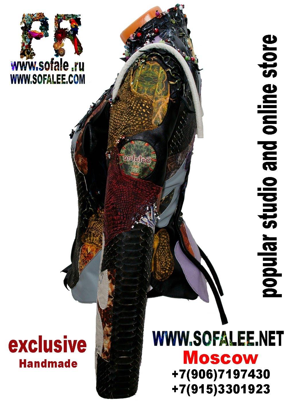 куртка из кожи крокодила и питона с вышивкой 2