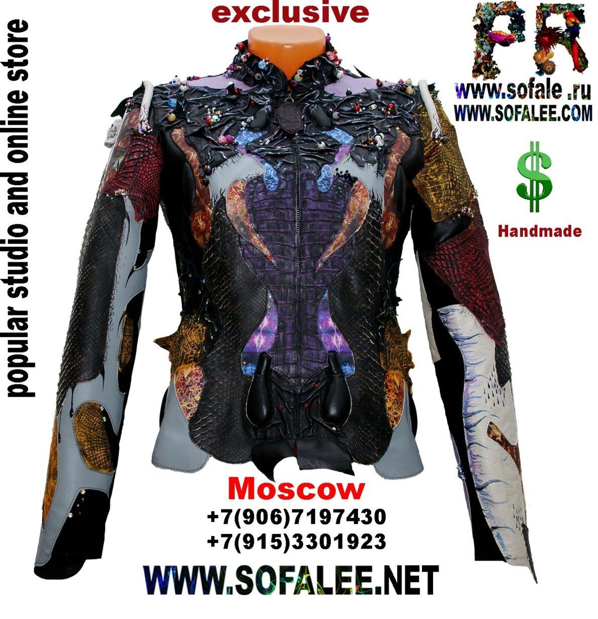 куртка из кожи крокодила и питона с вышивкой 1