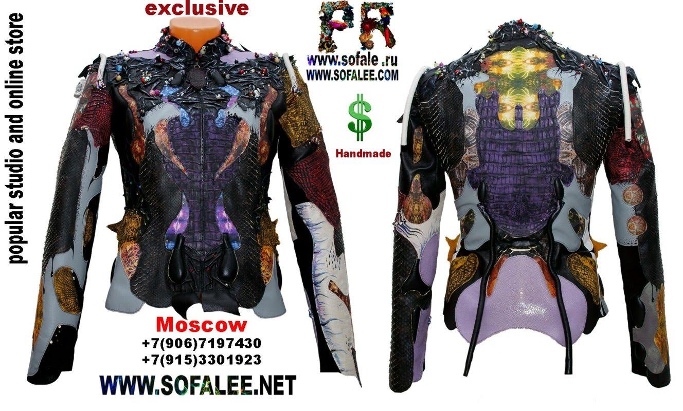куртка из кожи крокодила и питона с вышивкой 18