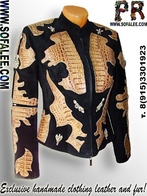 Chic jacket of crocodile skin, ladies fashion leather luxury