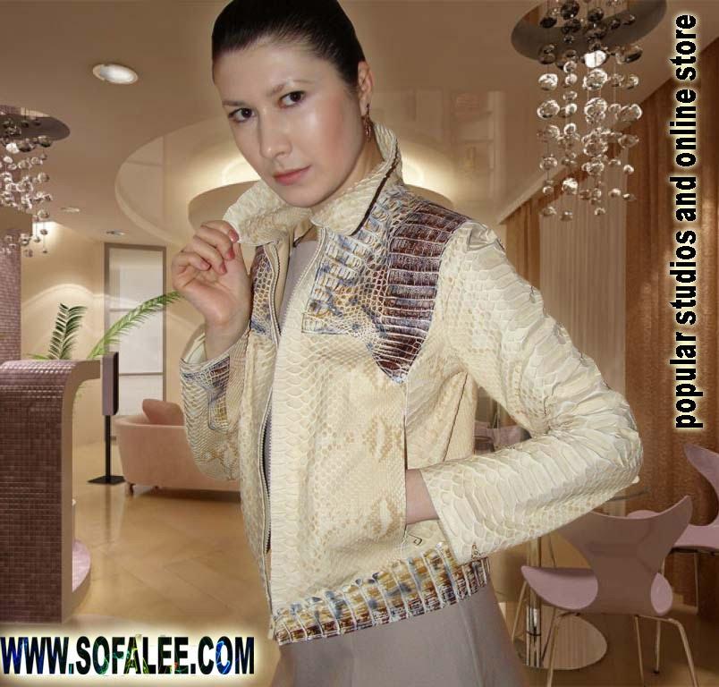 Куртка женская из кожи питона и крокодила.Jacket of python skin and alligator skin