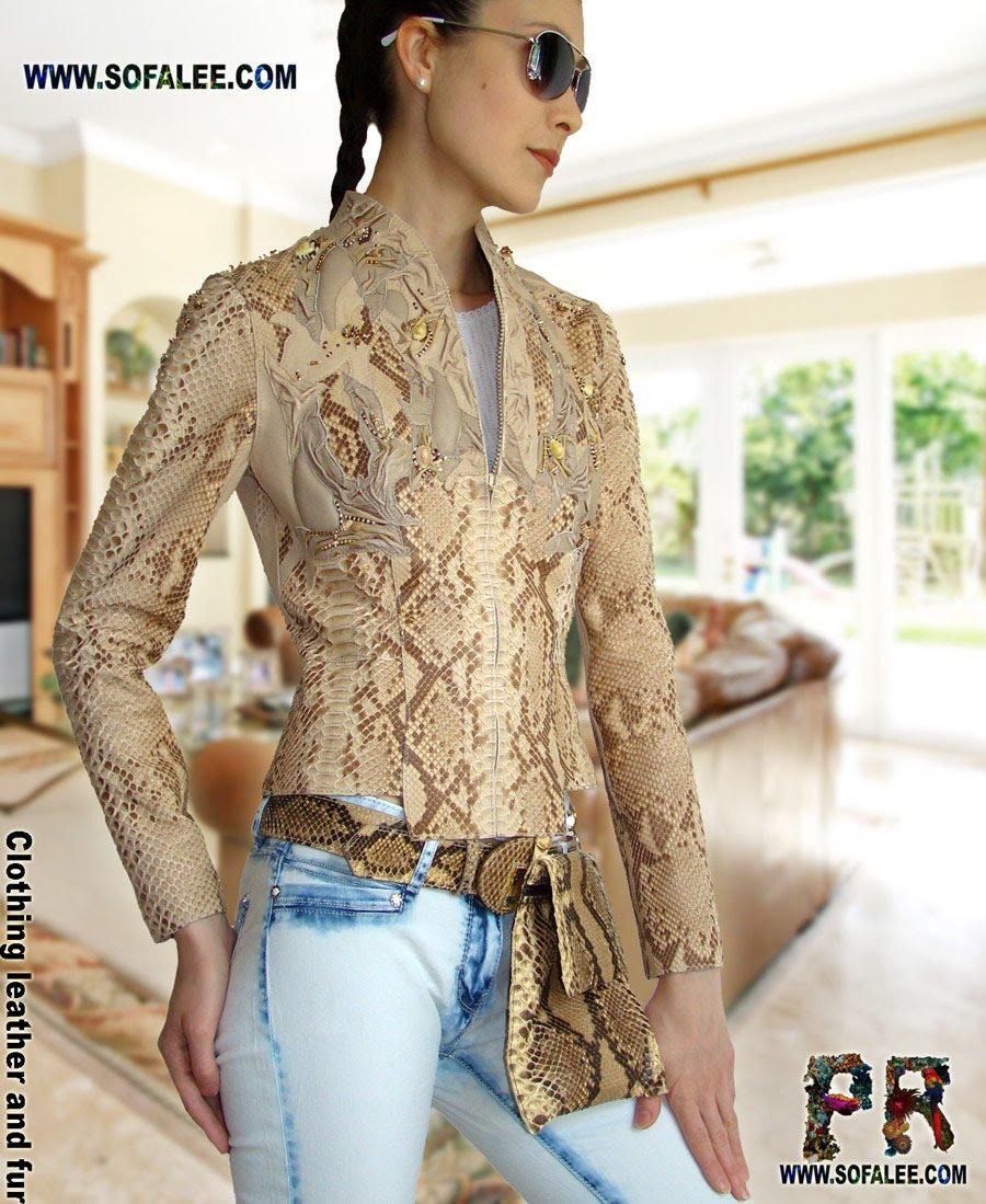 Luxury leather jacket of genuine python with bag of python skin.