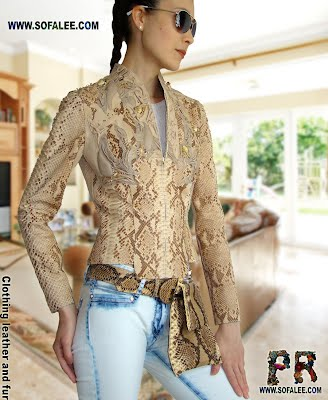 Luxury leather jacket of genuine python with bag of python skin.