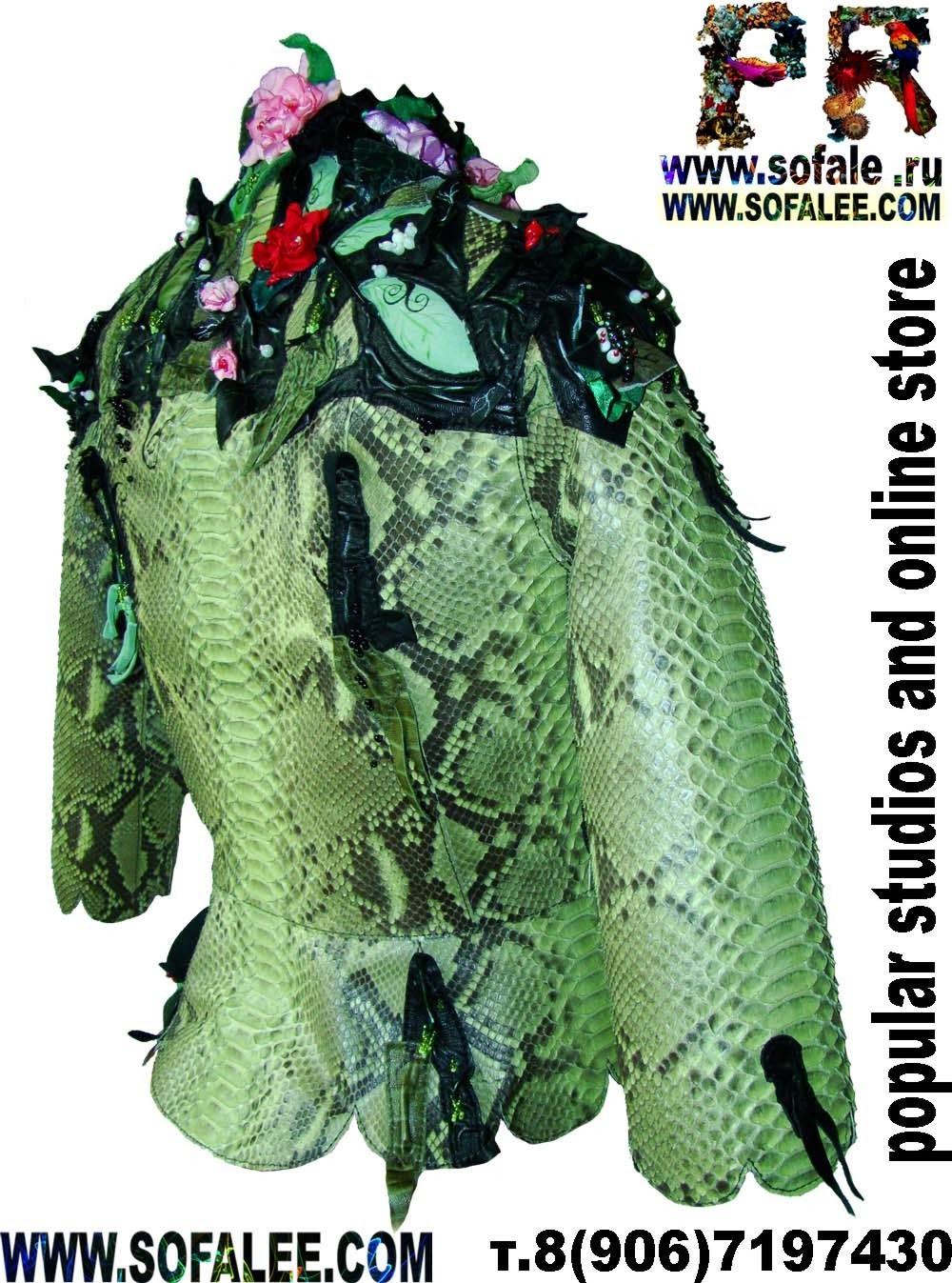Женская куртка из питона зеленого цвета фото 2