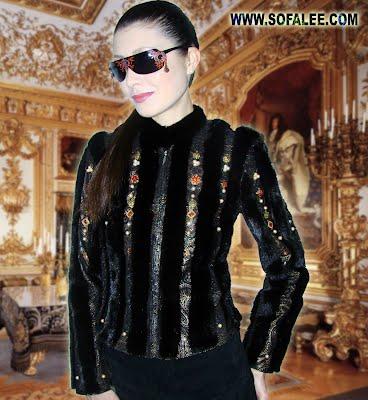 Куртка из меха норки черной и натуральной кожи-принт