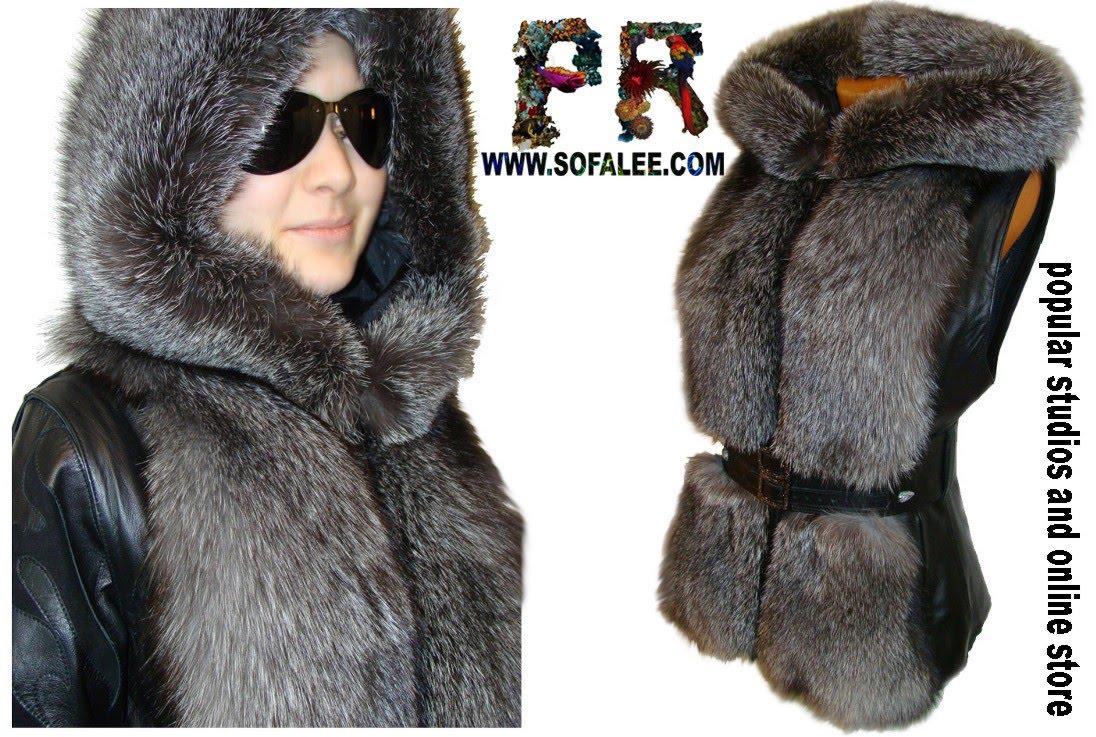 куртка чернобурка с капюшоном и варежками