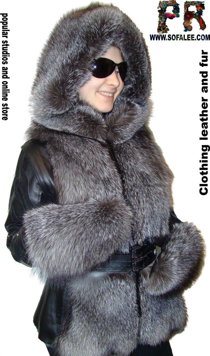Зимняя куртка из кожи и меха чернобурки