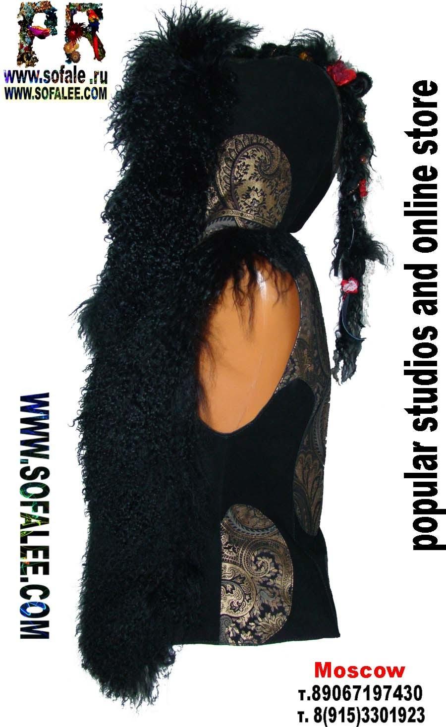 Жилет из меха ламы, замши и кожи принт фото 2