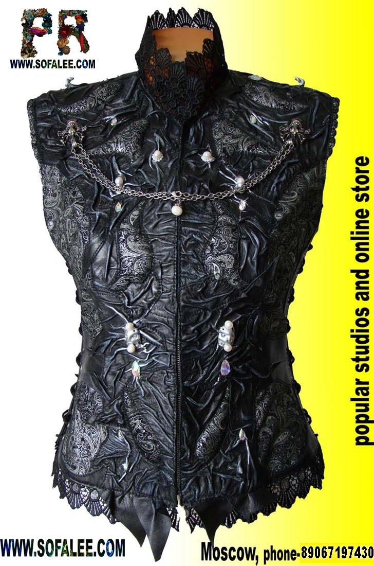 Женская жилетка кожаная с кружевами,вышивкой из жемчуга