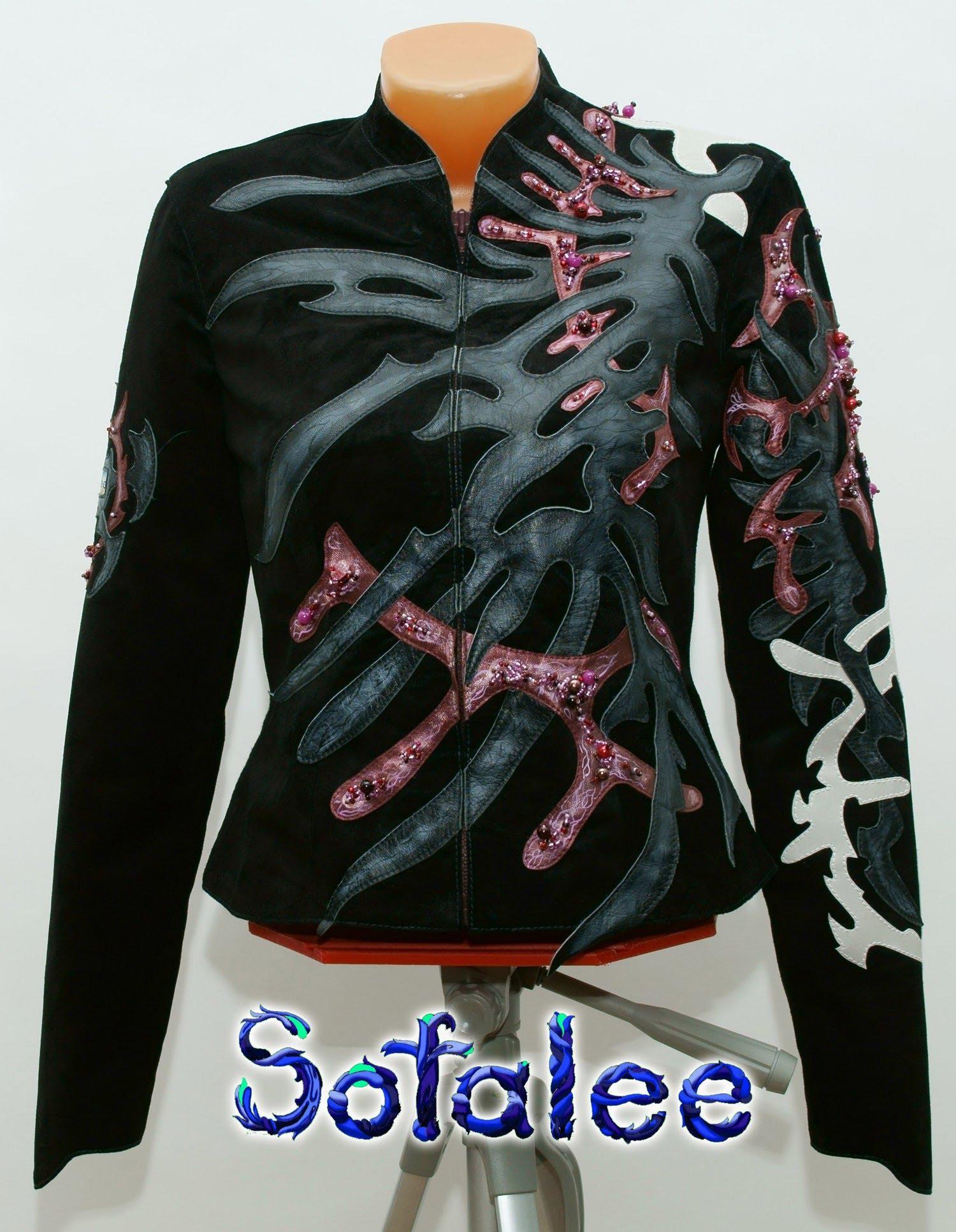 женственная дизайнерская кожаная куртка 0004