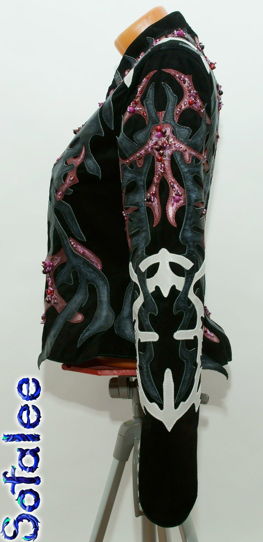 женственная дизайнерская кожаная куртка 0002