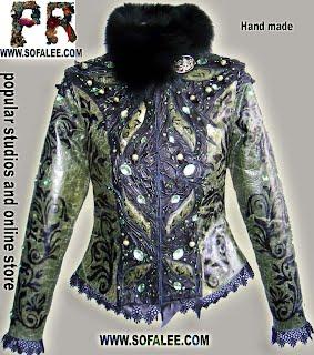 Элегантная куртка из кожи с вышивкой