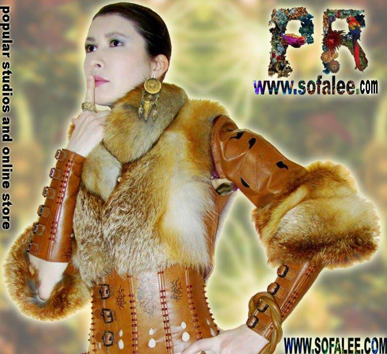 Меховой костюм :болеро,корсет,наручи,сумка
