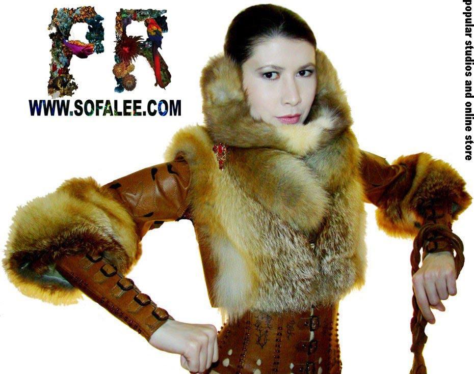 кожаный костюм с мехом лисы
