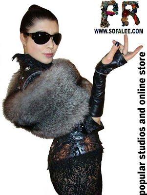 Роскошная женская куртка из кожи с палантином