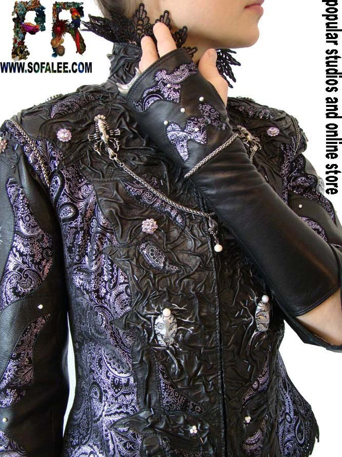 Кожаные митенки,куртка из кожи с жемчугом