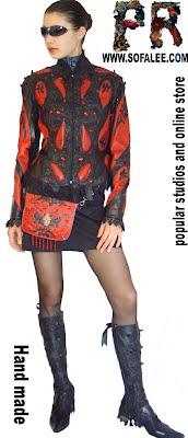 Красно-черная куртка кожаная женская. Jackets of laether