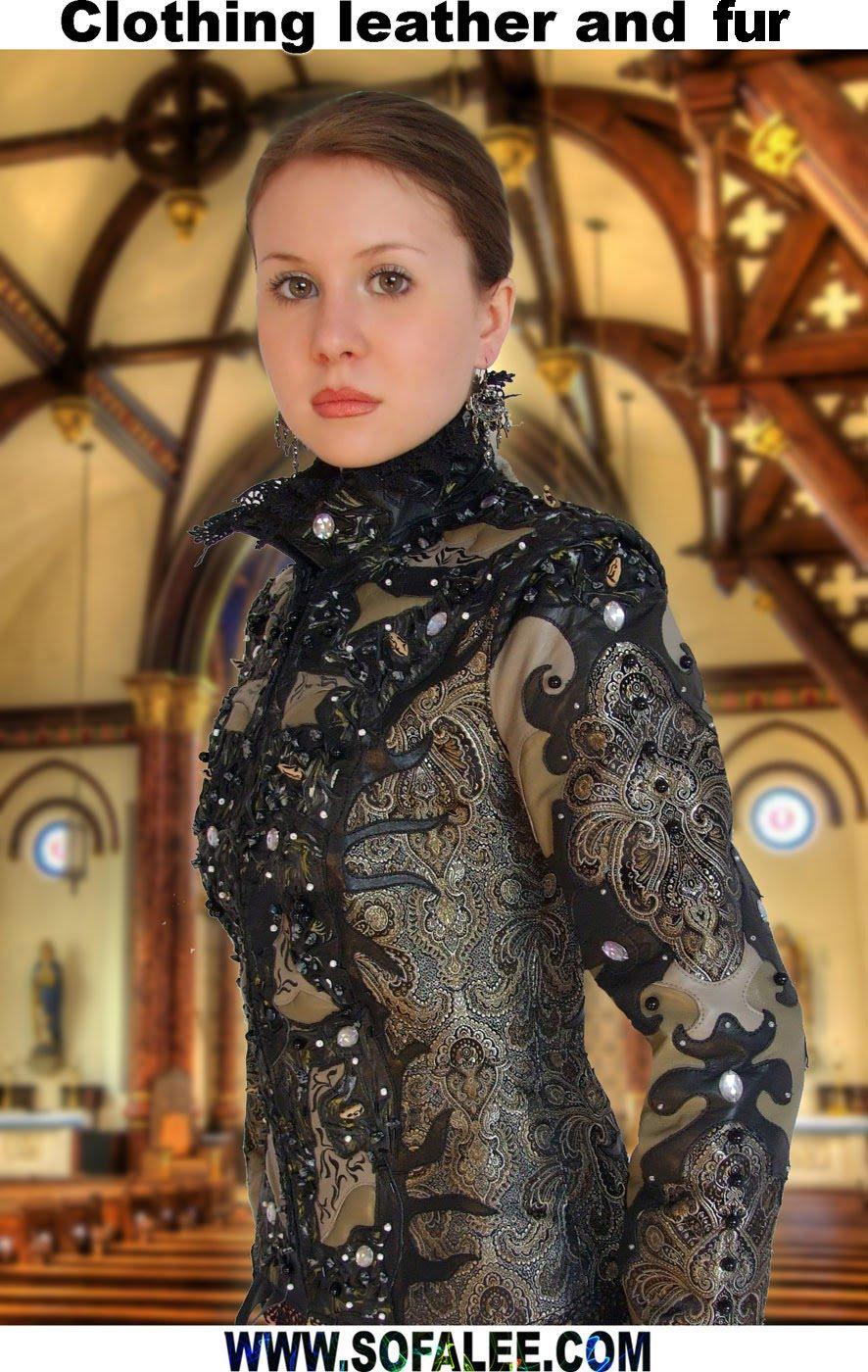 Женственная куртка из натуральной кожи с парчой.