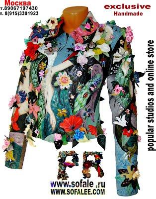 Модная куртка из натуральной кожи с аппликациями и цветами фото фото 3