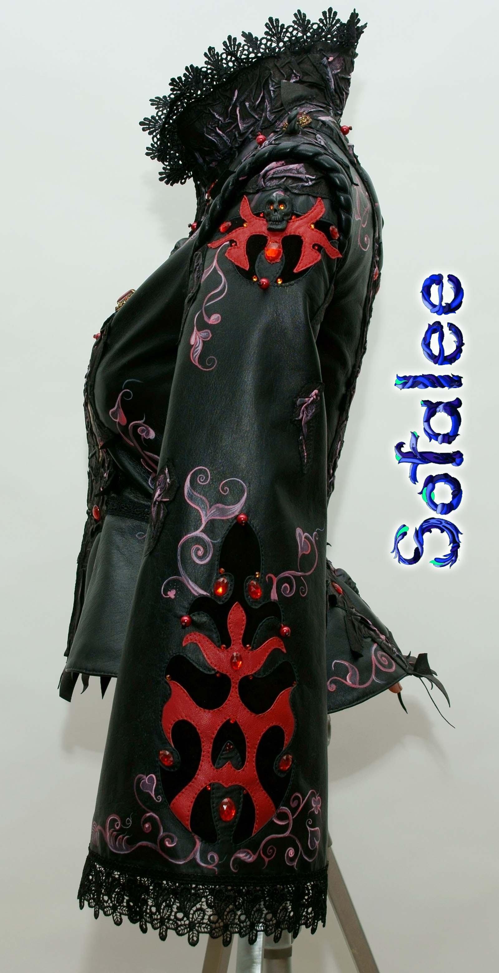 кожаный костюм юбочный 09