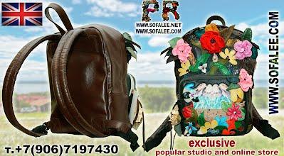 рюкзак кожаный с цветами