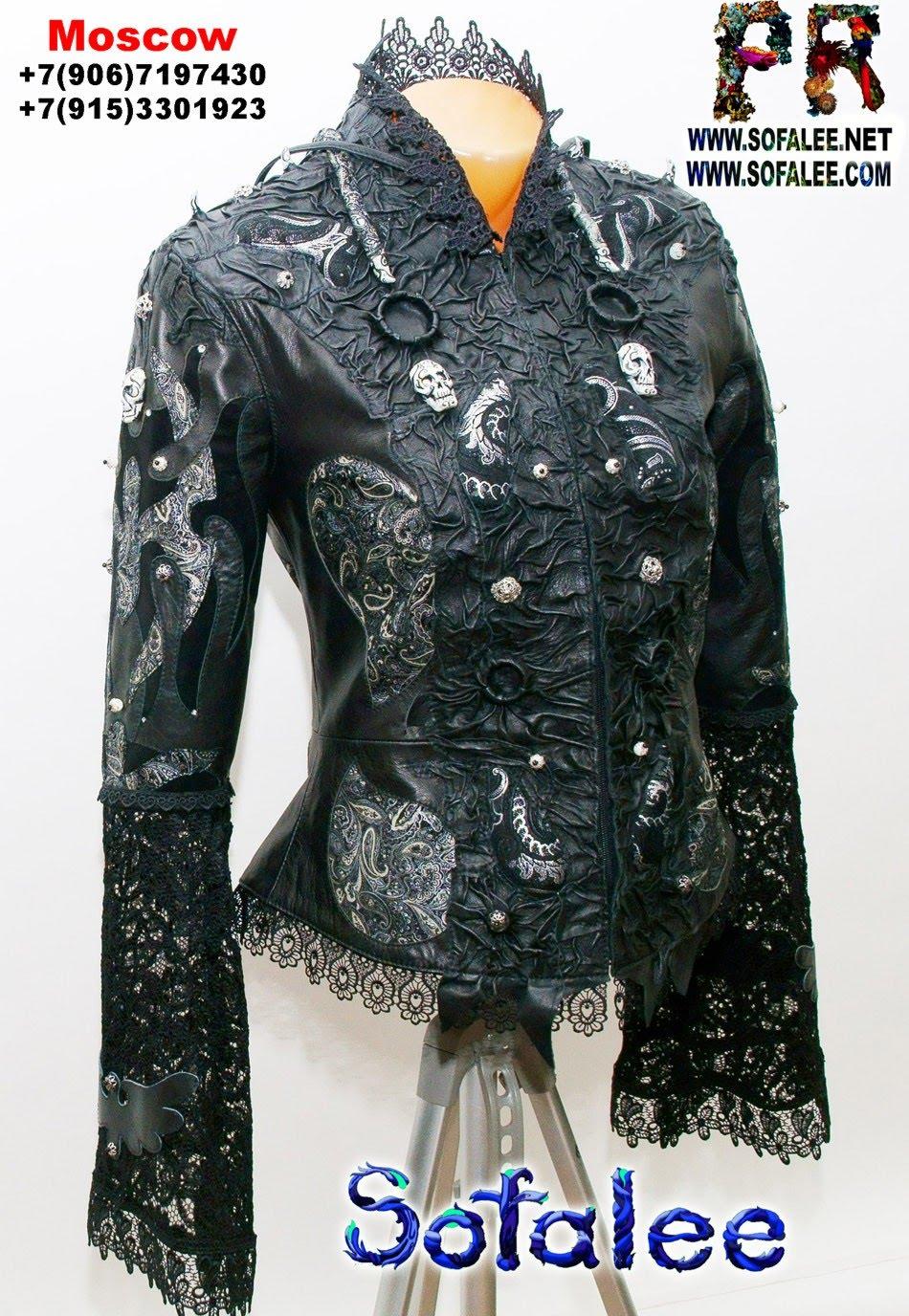 куртка из кожи с широкими рукавами 05