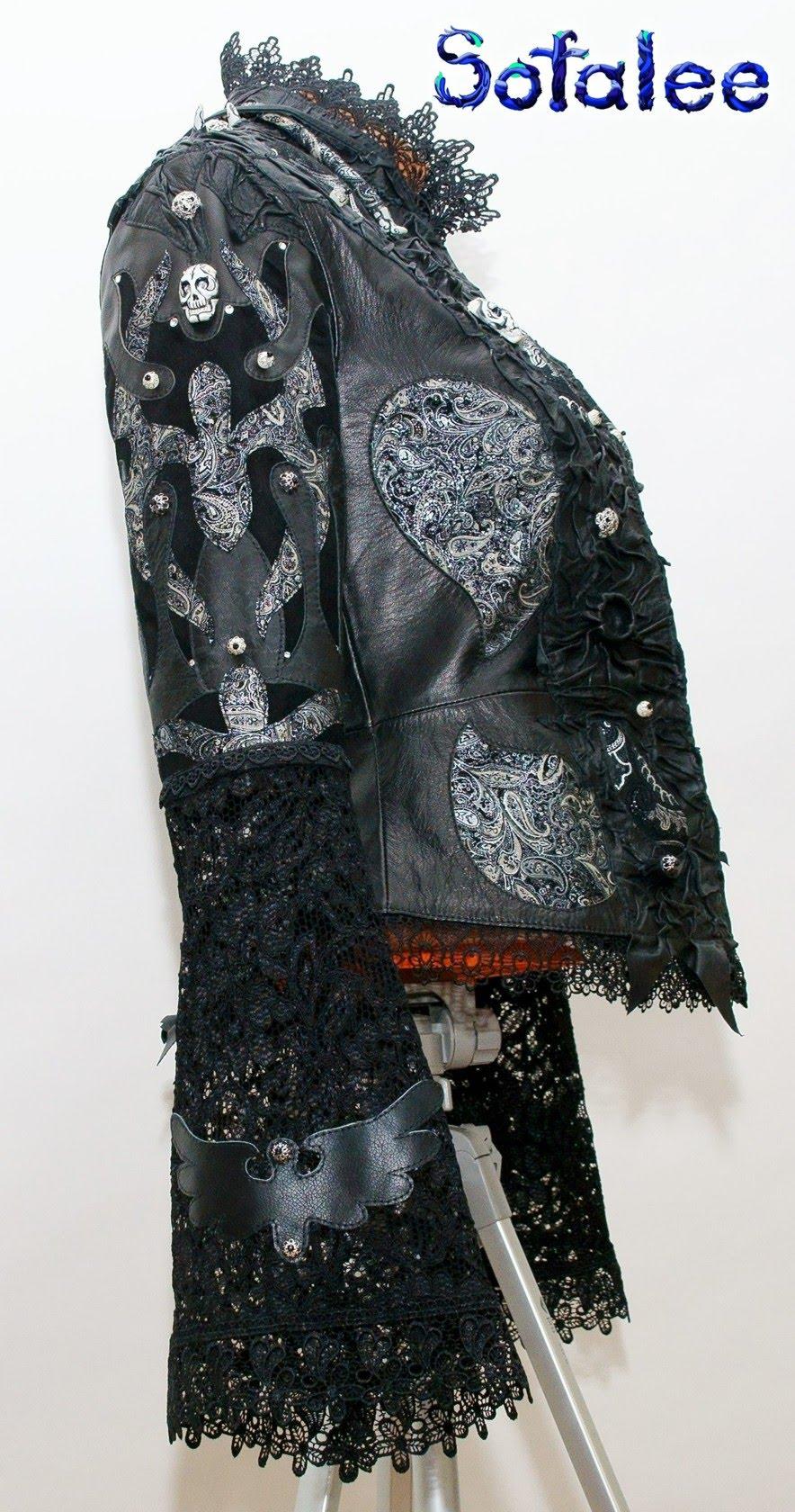куртка из кожи с широкими рукавами 06