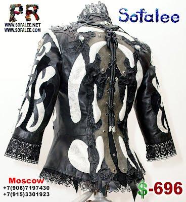 кожаная куртка с кружевами от Софали