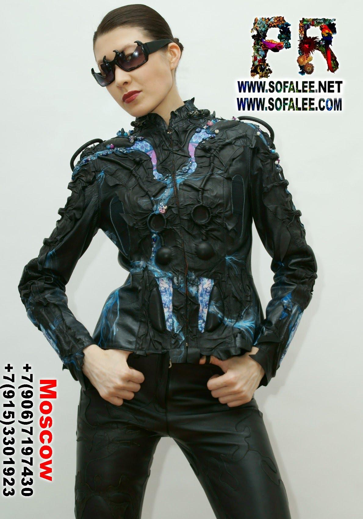 """№161 Эксклюзивная кожаная куртка для девушки """"The blue rivers"""""""