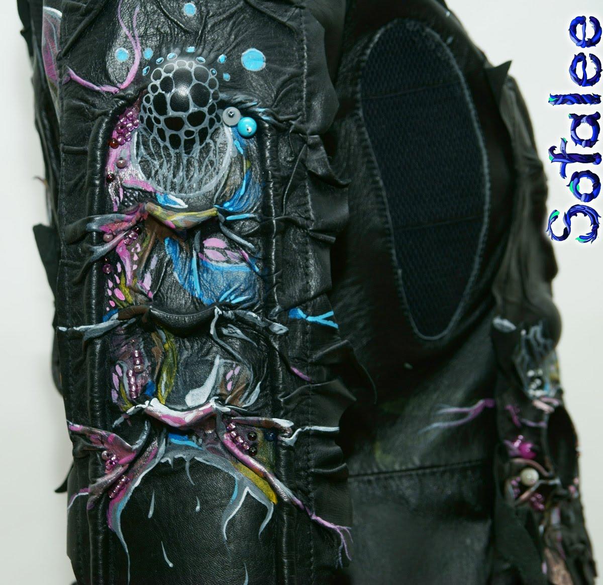 Куртка-жакет женский из кожи в стиле фэнтези 0081