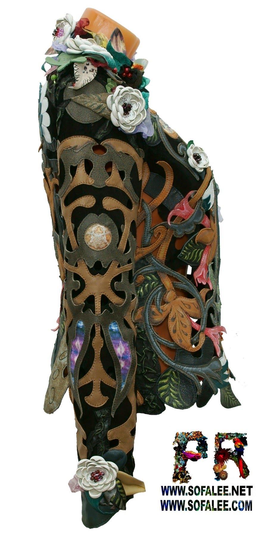 цветочная куртка из кожи с перфорацией 00