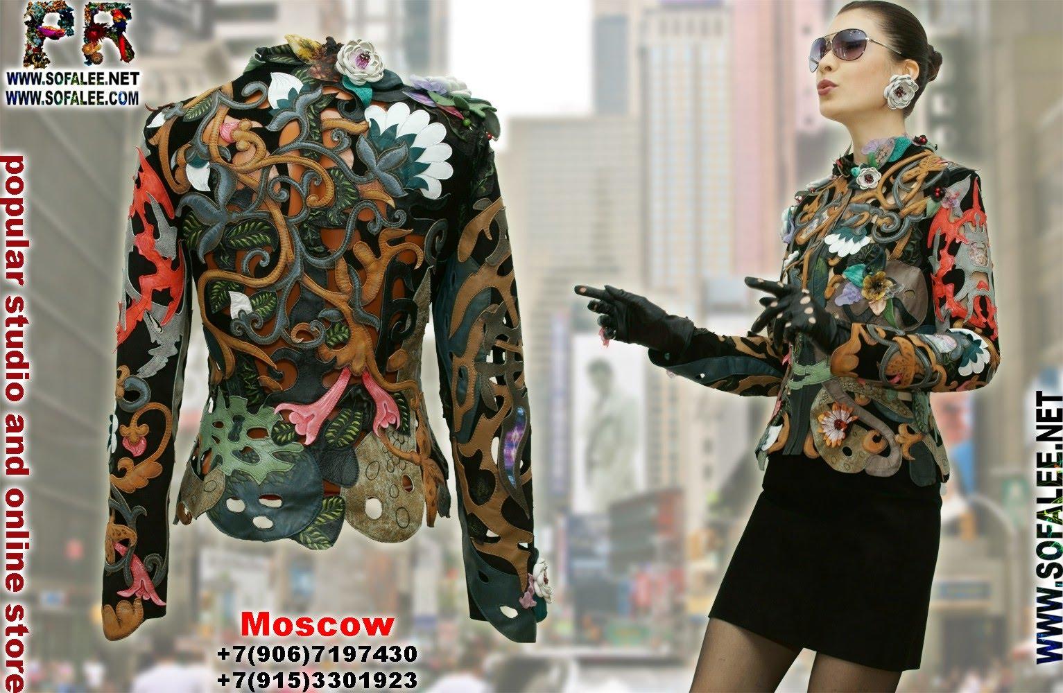 роскошная кожаная куртка с цветами 0000