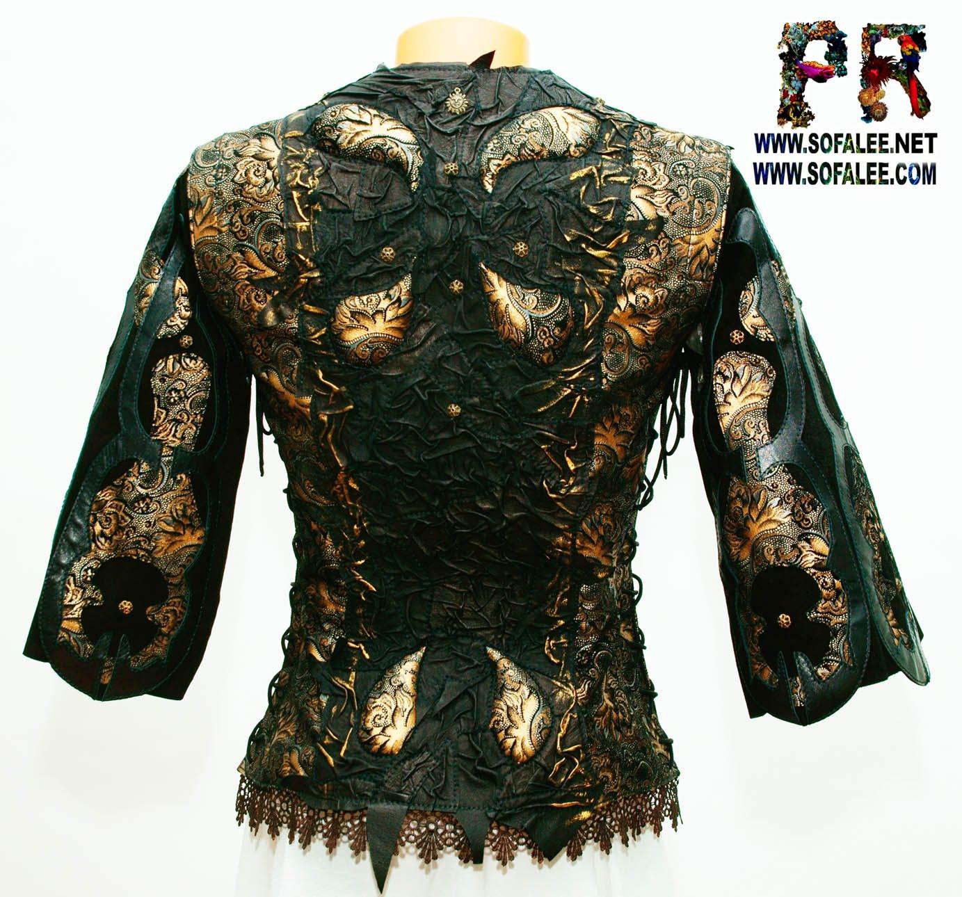 bronze black leather jacket 001