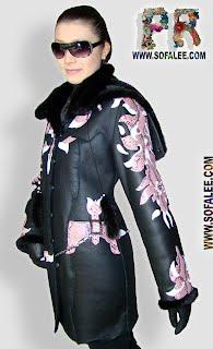 Дубленка женская с мехом норки и вышивкой из кожи питона