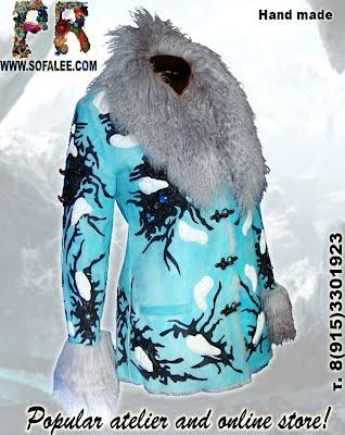 Женская дубленка голубого цвета с мехом ламы