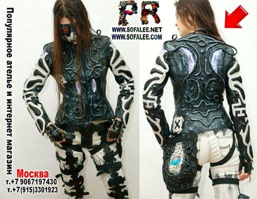 """№199 Women's cyberpunk genuine leather jacket """"Collider"""""""