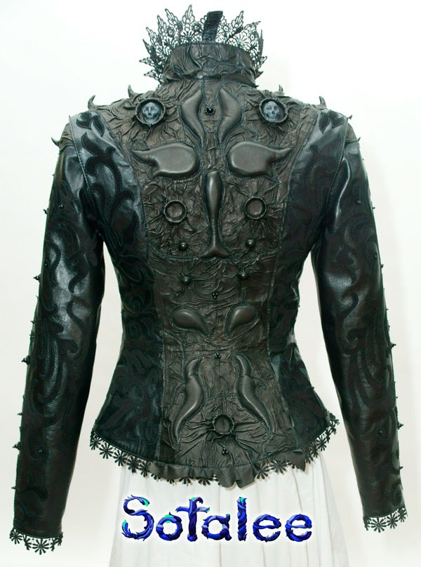 "№204 Gothic womens jacket of genuine black leather ""The Night's Queen"""