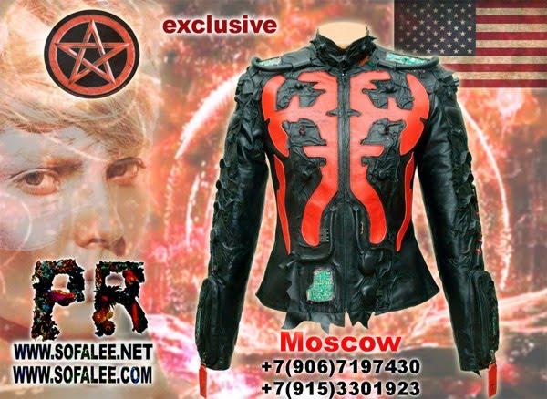 """№196 Women's short genuine leather jacket """"Cyberpunk"""""""